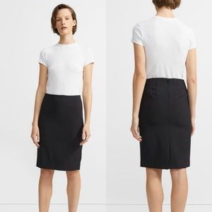 THEORY Black Classic Wool Skinny Pencil Skirt